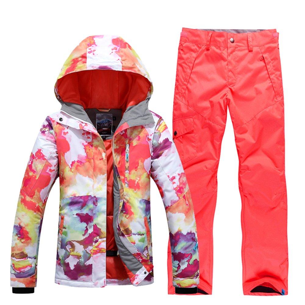 orange XSmall GsouSnow Women's Girl Waterproof Windprooof Hooded Ski Suit Coat Jackets Bib Pants Trousers Removable Warm Rain Outdoor Insulated Winter