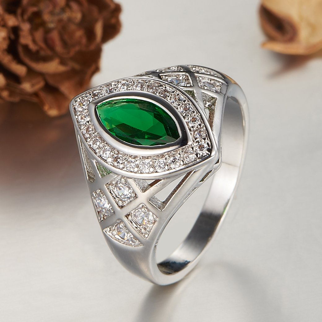 Veunora 925 Sterling Silver Marquise Tourmaline Filled Promise Ring
