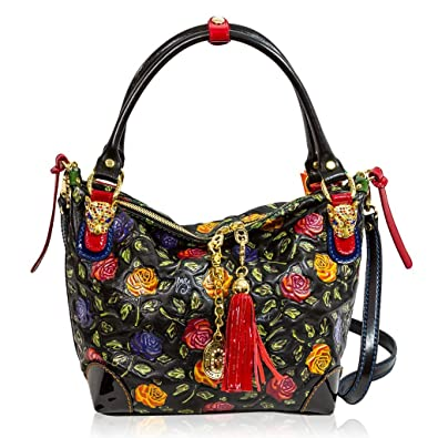 Marino Orlandi Italian Designer Handpainted Red Roses Leather Crossbody Bag   Amazon.co.uk  Shoes   Bags 80414aa2993cb