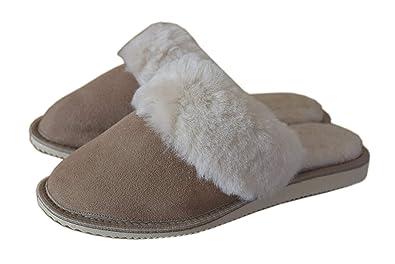 4cd381cb1612 Dark Womens Luxury Lightweight Handmade Genuine 100% Sheepskin Slippers  Mules with Sheep s Fur Lining (