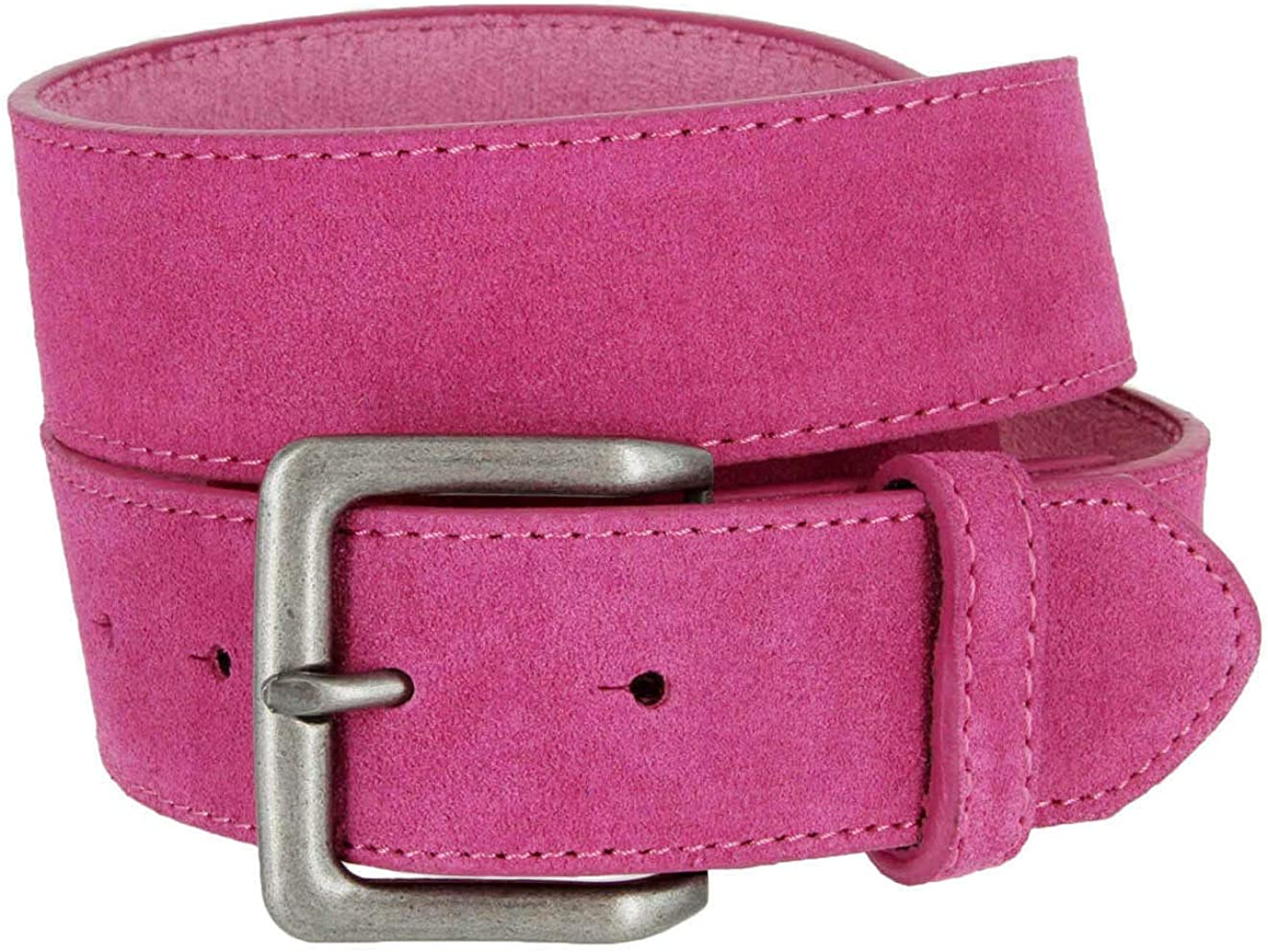 """Square Buckle Casual Jean Suede Leather Belt 1 1/2"""" Wide"""