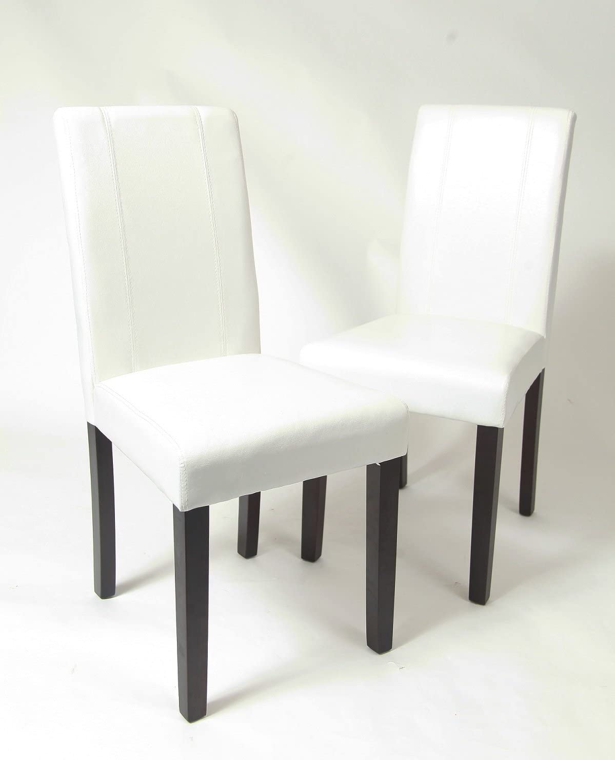 Roundhill Furniture Urban Style Solid Wood Leatherette Padded Parson Chair, White, Set of 2