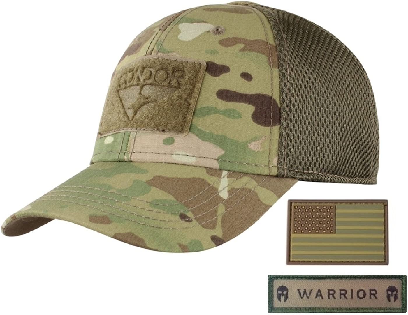 Condor Flex Mesh Cap (Multicam) + PVC Flag & Warrior Patch, Highly Breathable Fitted Tactical Operator Hat