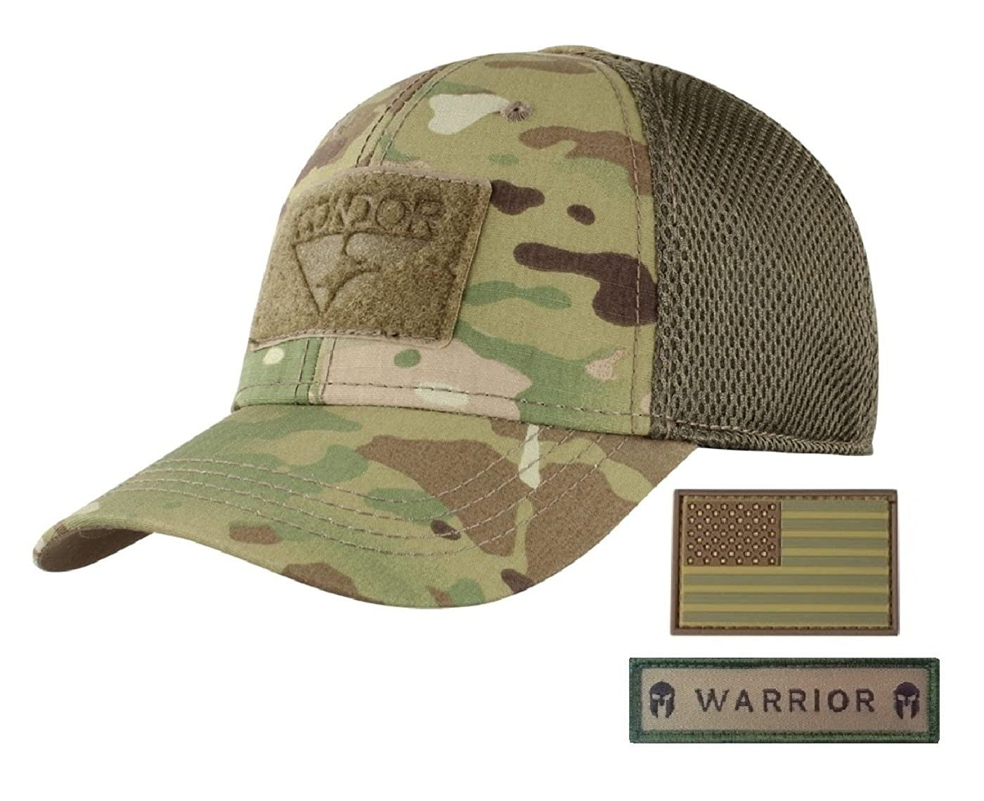 Active Duty Gear Condor Flex Mesh Cap (Multicam) + PVC Flag & Warrior  Patch, Highly Breathable Fitted Tactical Operator Hat