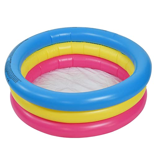 ASAB Inflatable 3 Ring Small Paddling Pool Durable Vinyl Kids Children Swimming Summer Outdoor Garden Fun