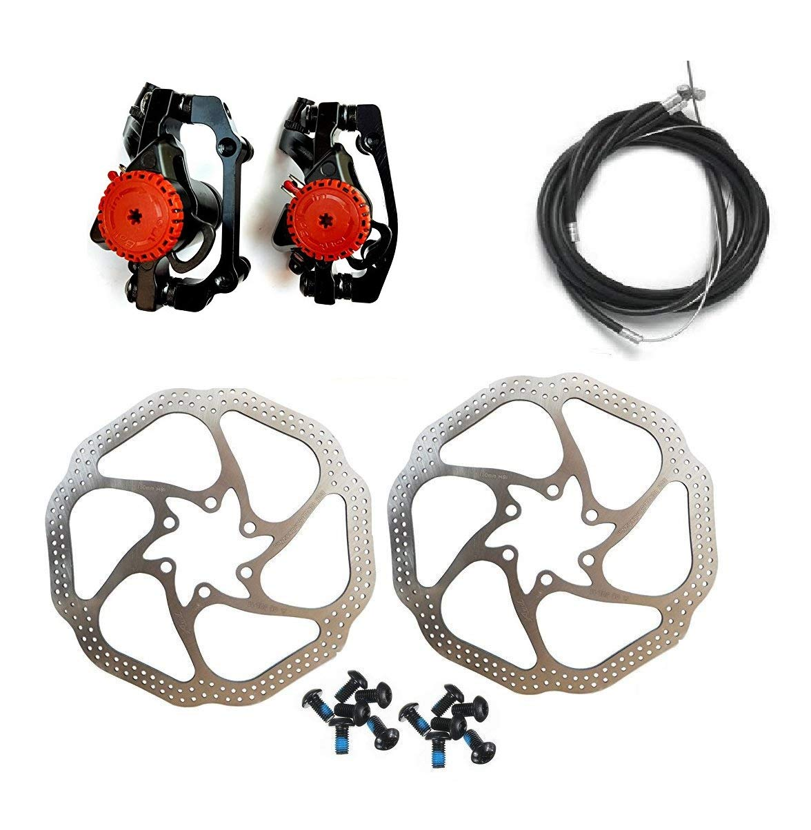 BlueSunshine HS1 Bike Disc Brake Kit - Mountain Bicycle Bike Mechanical Front and Rear 160mm Caliper Rotor BB5 BB7 Whit Bolts and Cable (BB5) by BlueSunshine