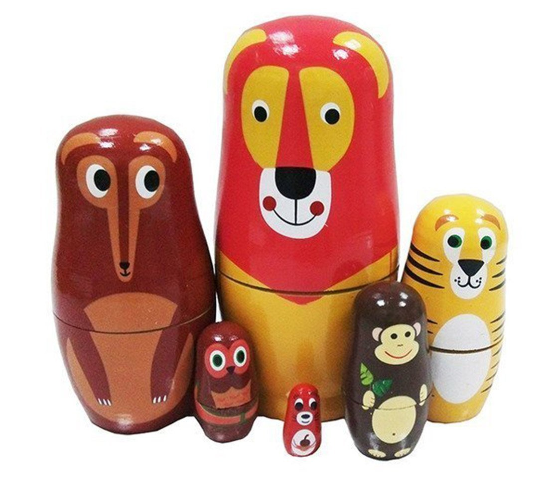 Cute Cartoon Lion Wolf Tiger Monkey Owl Squirrel Forest Animal Nesting Dolls Matryoshka Doll Russian Doll Set 6 Pieces Handmade Kids Gifts Toy