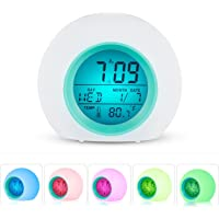 Digital Alarm Clock, Wake up to The Sounds of Nature, 7 Colors 6 Natural Sounds Sleep Function Night Light, LED Display with Time Display, Date, Temperature, Snooze Function (Small)