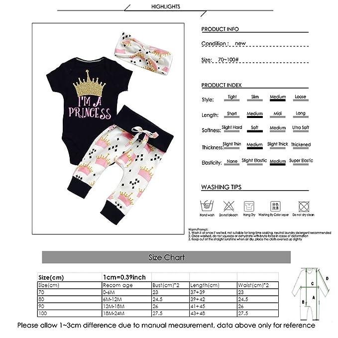 puseky Infant bebé Pelele Ropa de niñas Princesa Corona Diadema Pantalones Ropa Set Negro Negro Talla:0-6 Meses: Amazon.es: Bebé