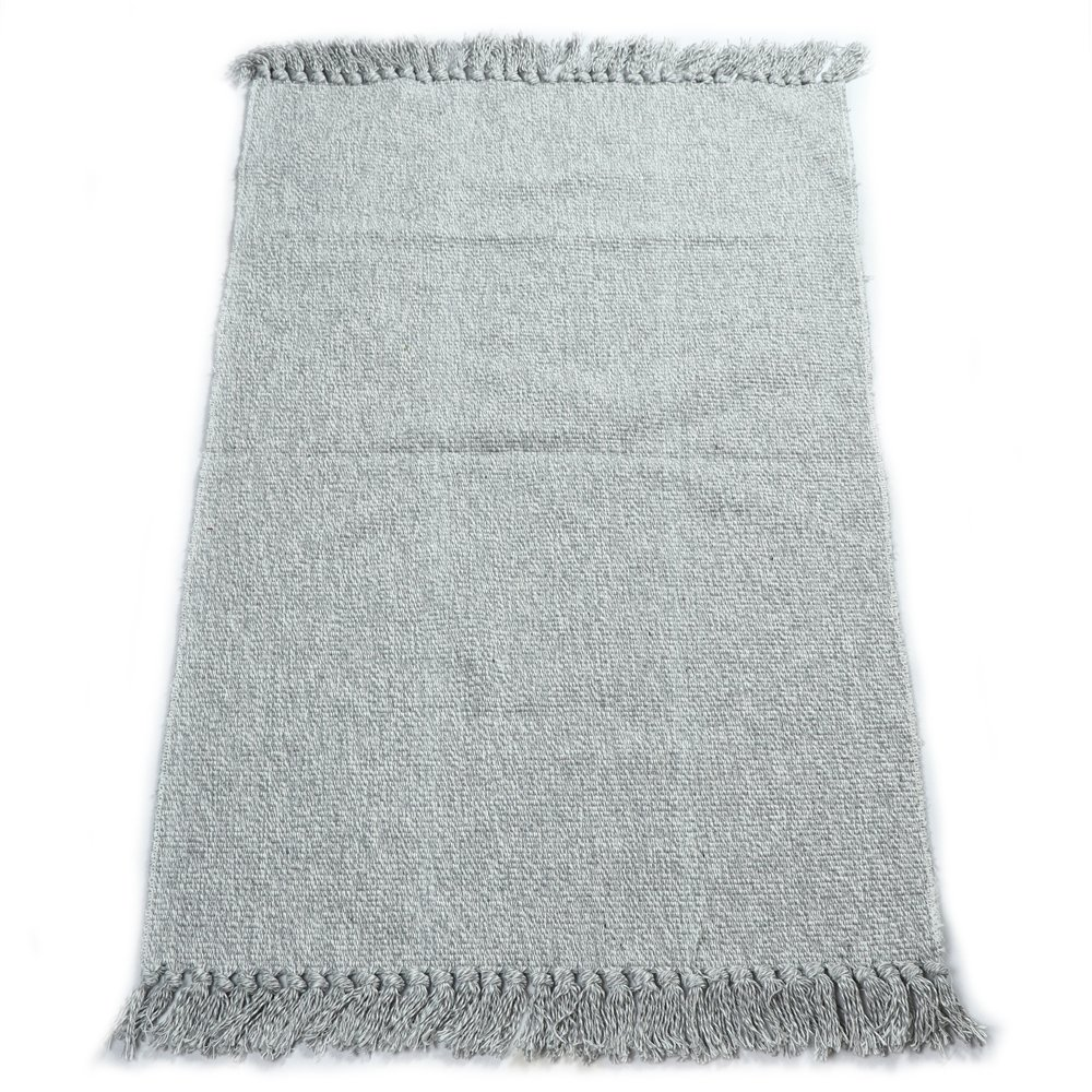 fani Handmade Flat Weave Cotton Rugs with Tassels Bedroom, Living Room & Kitchen Mat Washable Gray Carpets (24Inch×35Inch, Gray)