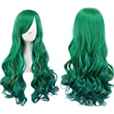 """LUCKY-GIRL 27.5"""" Women's Full Wig Long Curly Hair Heat Resistant Wigs Harajuku Style Hair Wigs Costume Wigs for Cosplay/Party (Dark green) BU036D"""