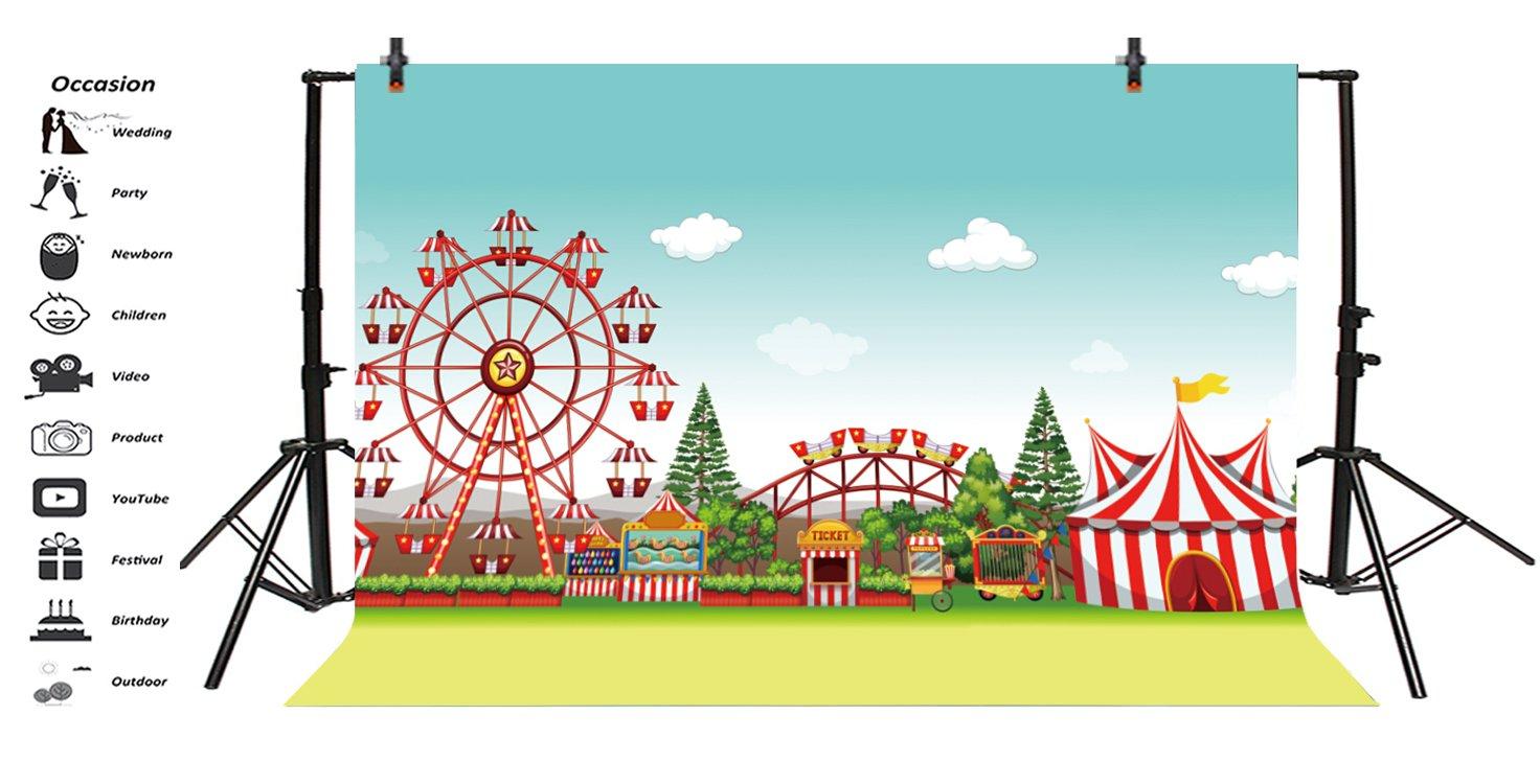 Cassisy 3x2m Vinyle Cirque Toile de Fond Photo en Plein air Rideaux de Cirque Rouge Rayures color/ées Objets de Cirque Fond De Studio Photo b/éb/é Enfant Portrait Photographie Props Photobooth