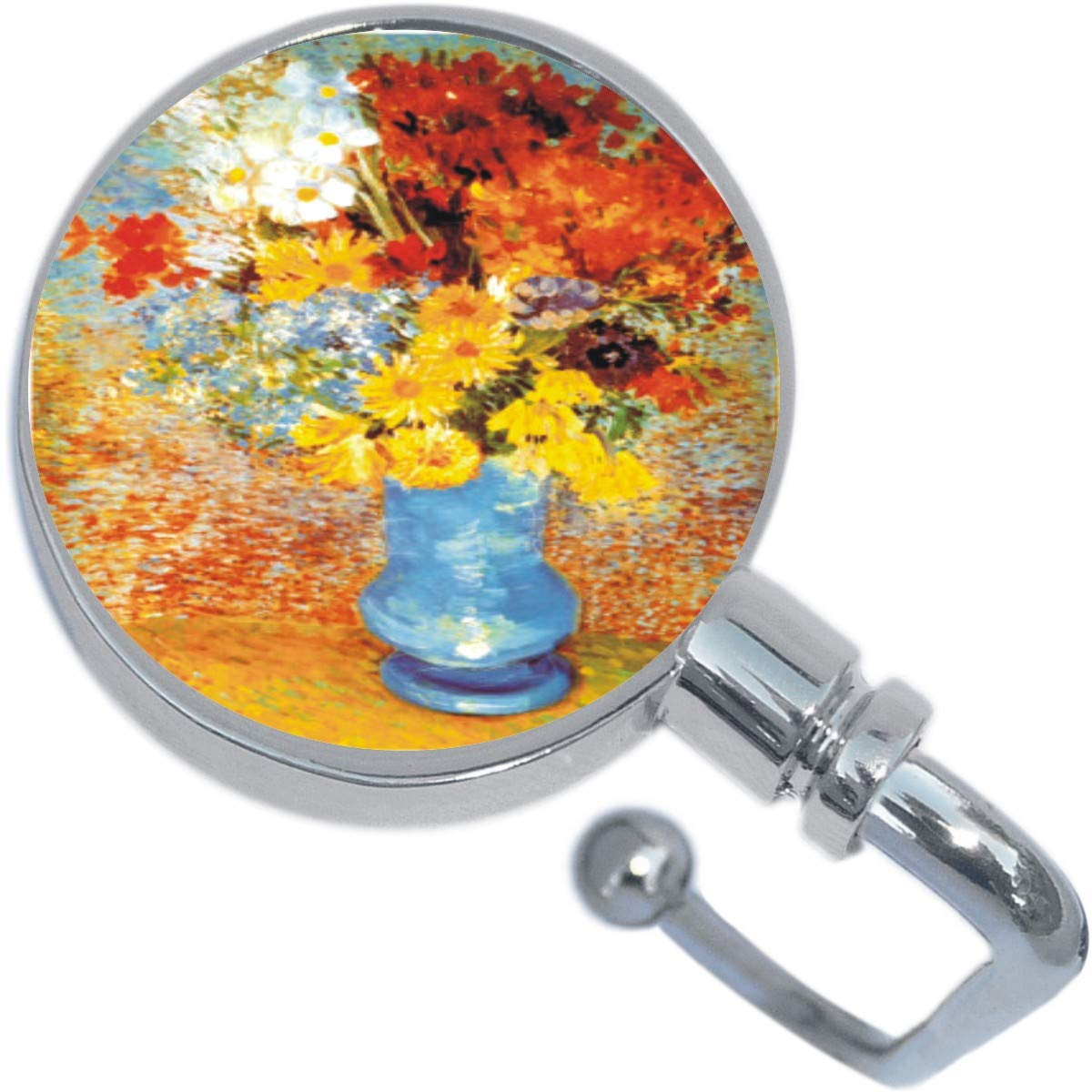 Vase Of Flowers Keychain Handbag Hook Retractable Folding