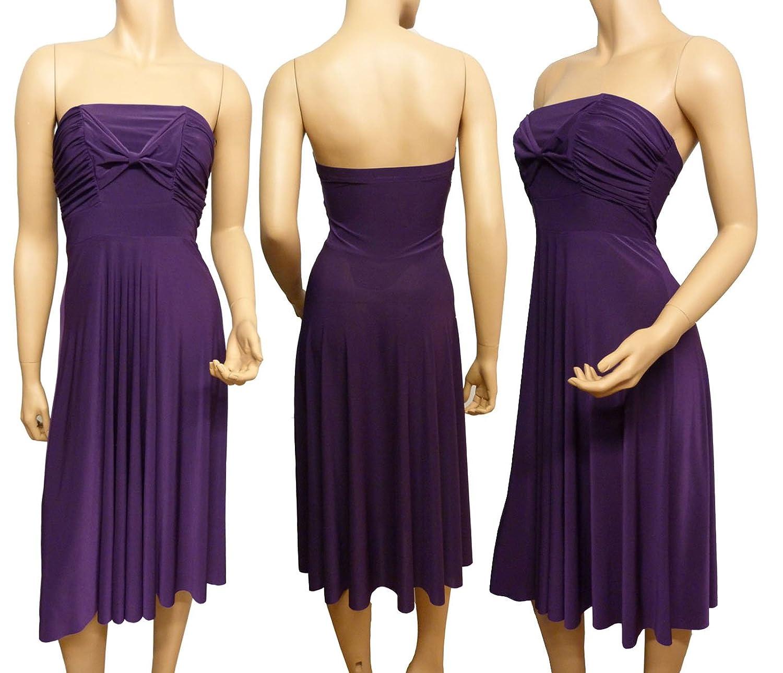 Ladies Strapless Bow Dress UK Size 8 - 18 (14, Purple)