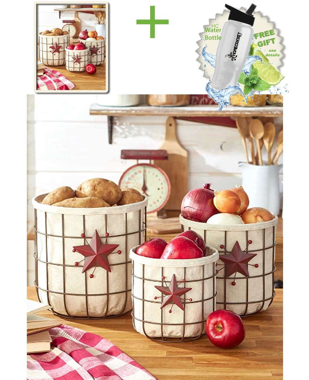 Gift Included- Star & Berry Farmhouse Kitchen Country Vegetable & Fruit Storage Baskets Set of 3 + FREE Bonus Water Bottle by Homecricket by HomeCricket (Image #1)
