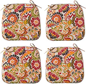IN4 Care Outdoor Seat Cushions Set of 4, All Weather Chair Pads with Ties, Patio Chair Pads for Office Home Patio Furniture Garden Decoration 16x17 Inch (Paisley)