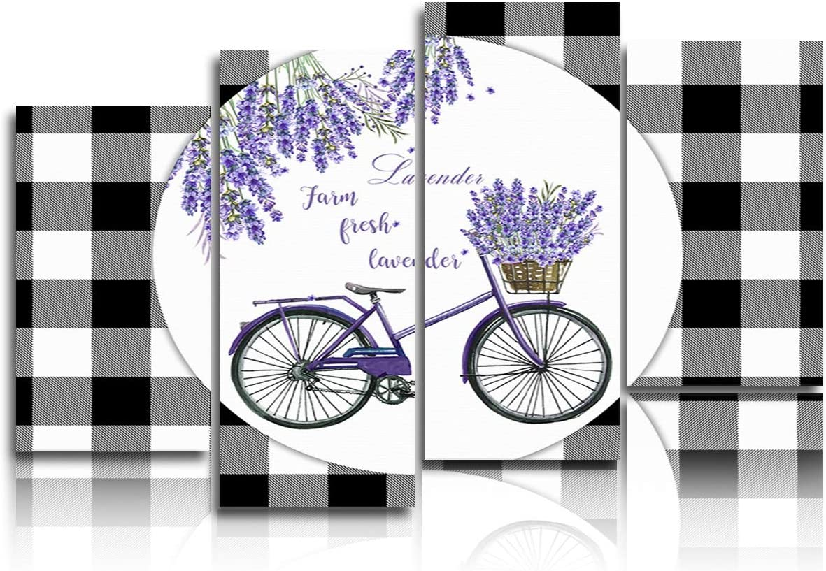 4 Piece Canvas Wall Art for Living Room Bedroom Kitchen, Canvas Paintings Prints Bathroom Decor Wall Art Purple Bicycle Carrying Lavender Black and White Lattice Border Wall Painting Framed Wall Art