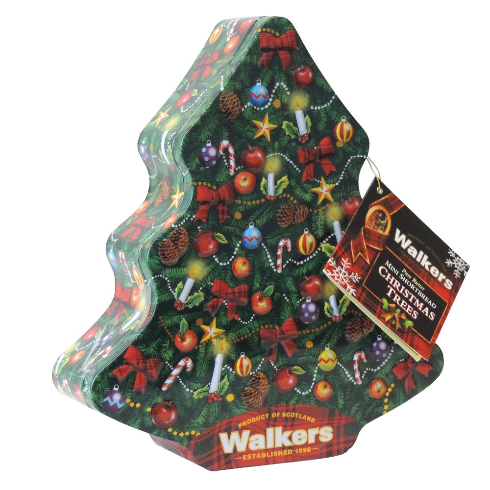 Walkers - Pure Butter Mini Shortbread Christmas Trees - Tree Tin - 225g (Case of 12)