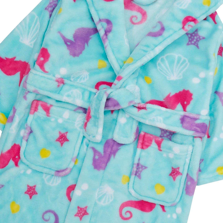 mit Kapuze Fleece-Bademantel mit Taschen weicher Pl/üsch Lora Dora Bademantel f/ür M/ädchen Seepferdchen