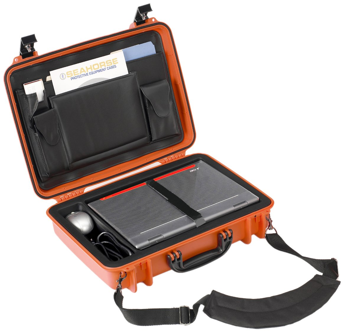Seahorse 710 Protective Laptop Case with Lid Organizer, Neon Orange by Seahorse (Image #1)