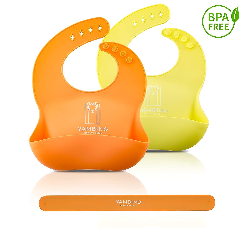 Set de 2 baberos de bebé con correa 30x22cm - Saco de goteo de silicona suave sin BPA – babero silicona bebe babero rigido bebe baberos silicona bebe ...