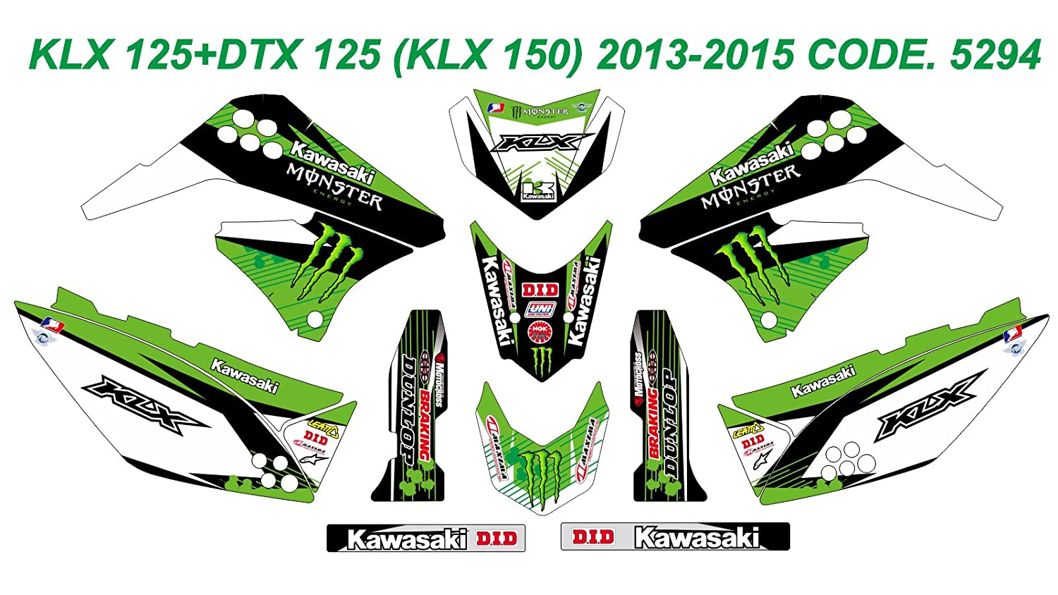 5294 KAWASAKI KLX 125+DTX 125 (KLX 150) 2013-2015 DECALS STICKERS GRAPHICS KIT Dog Racing Design