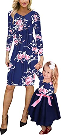 Mommy and Me Matching Long Sleeve Floral Print Long Maxi Dress Family High Waist Pleated Spring Fall Long Dress Outfits