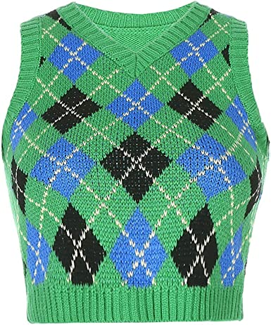 Women V Neck Vest Retro Streetwear Diamond Plaid Sweater Sleeveless Knitted Vest Treer Ladies Sleeveless Casual Jumper Pullover Autumn Tank Crop Top Knitwear