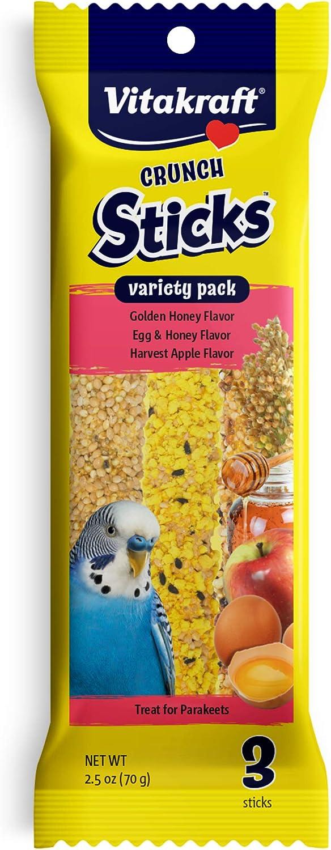 Vitakraft Crunch Sticks Variety Pack: Golden Honey Flavor, Egg & Honey Flavor, Harvest Apple Flavor Treats for Parakeets, 2.5 oz