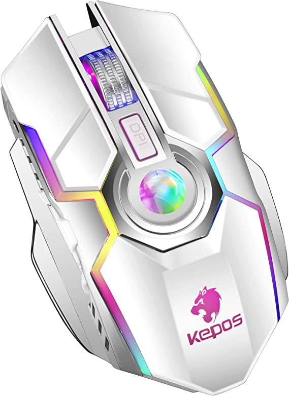 Rechargeable 2.4G Wireless Gaming Mice with USB Receiver and RGB Rainbow Backlit