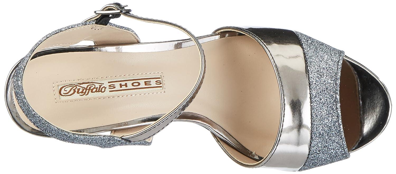 5 Glitter Shoes PU Buffalo Ouvert Metallic Sandales Bout 15s90 qCEpT