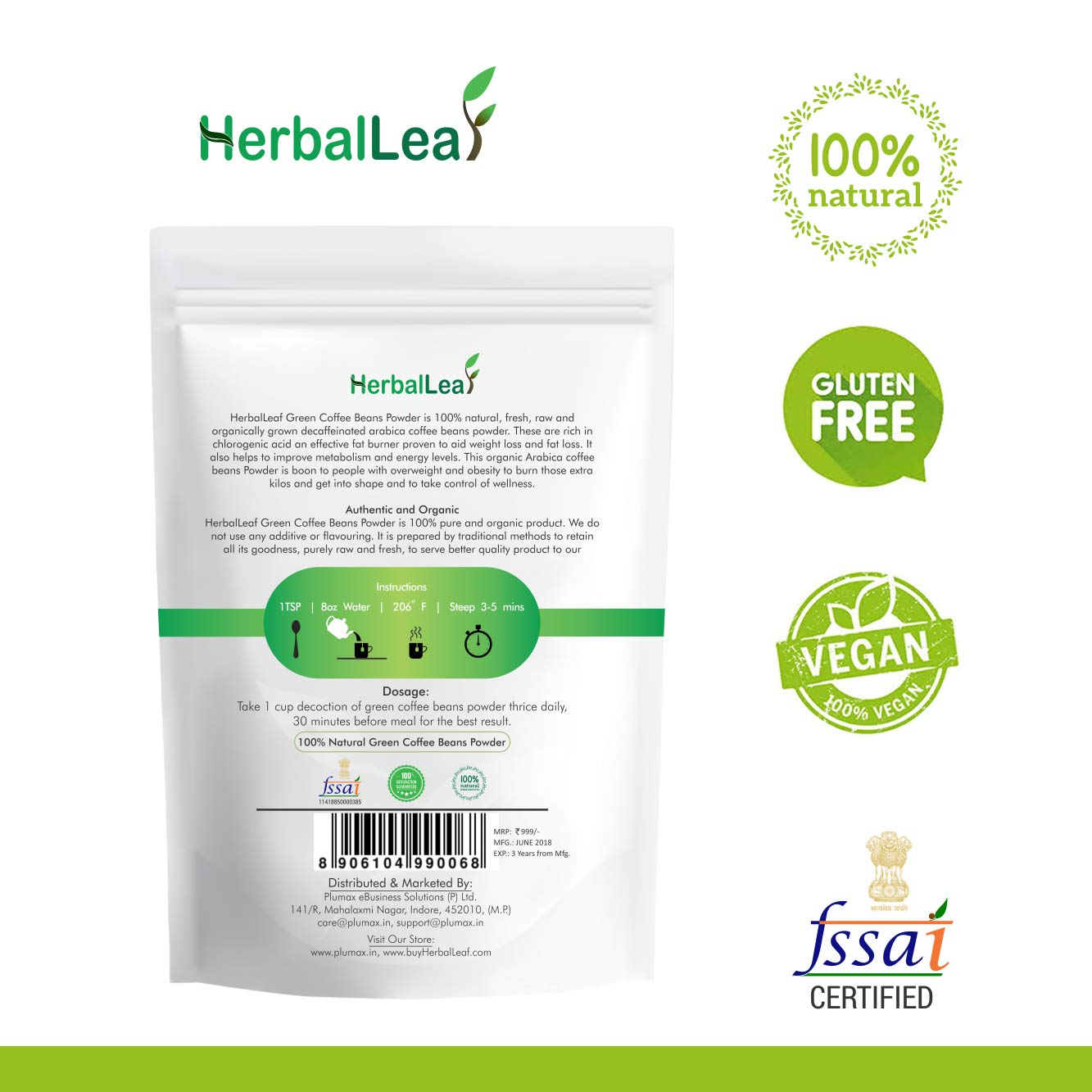 Buy Herballeaf Pure Natural Green Coffee Beans Powder Pack Of
