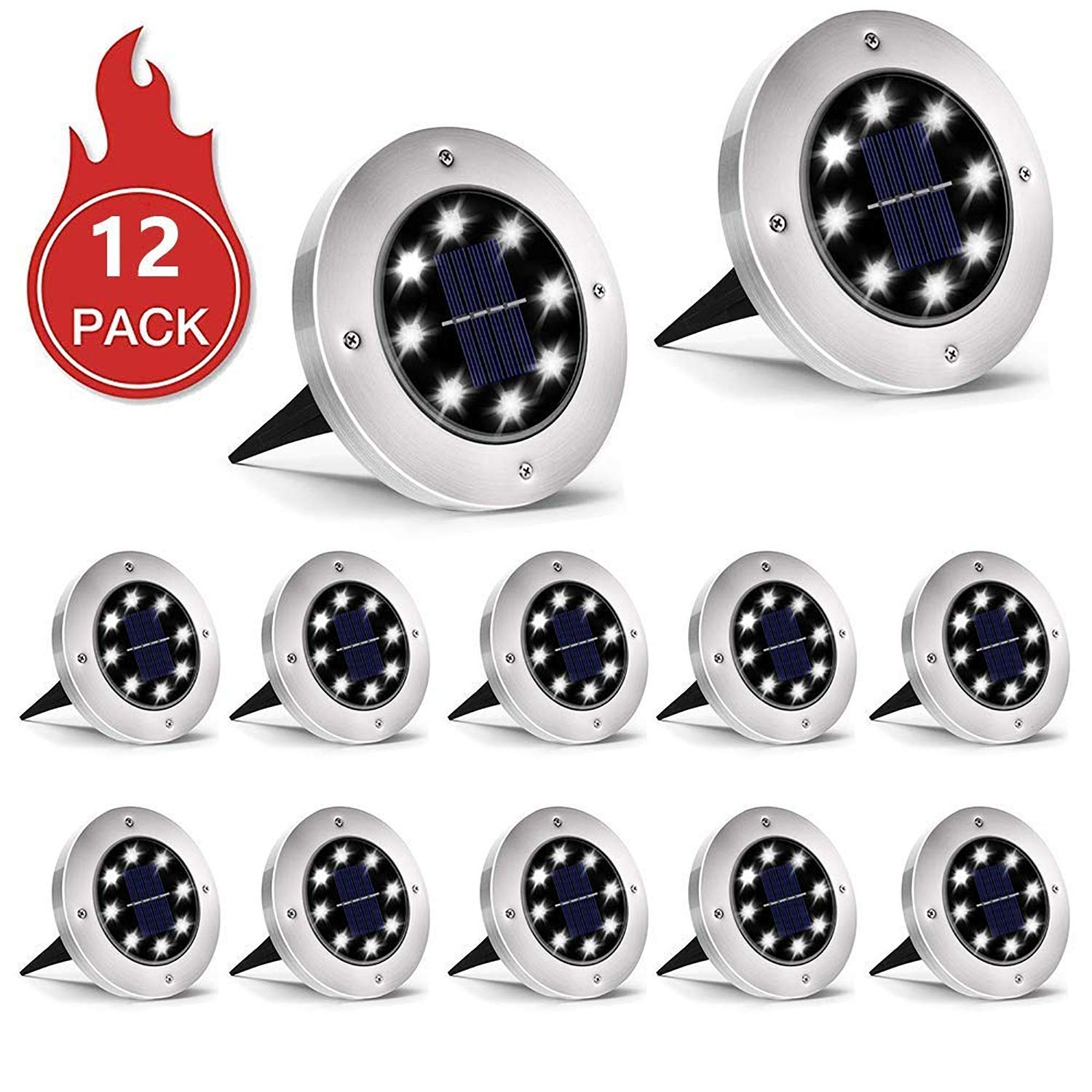 INCX Solar Ground Lights, 12 Packs 8 LED Solar Garden Lamp Waterproof In-Ground Outdoor Landscape Lighting for Patio Pathway Lawn Yard Deck Driveway Walkway White by INCX