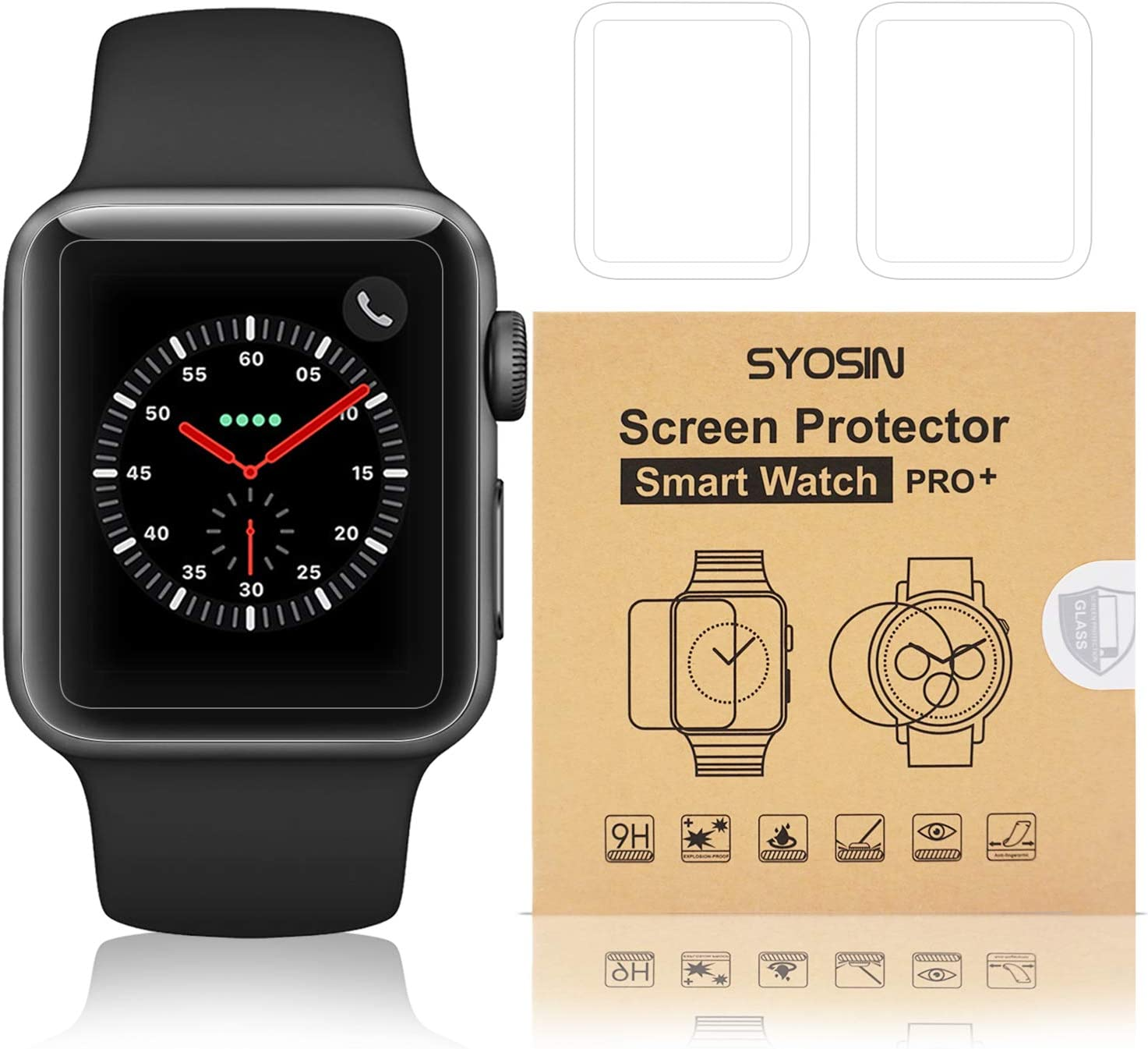 [5-Pack] SYOSIN Compatible Apple Watch 42mm Screen Protector Anti-Scratch HD-Clear Tempered Glass Film Compatible iWatch Series 1/Series 2/Series 3[Only Covers 95% of The Flat Area]