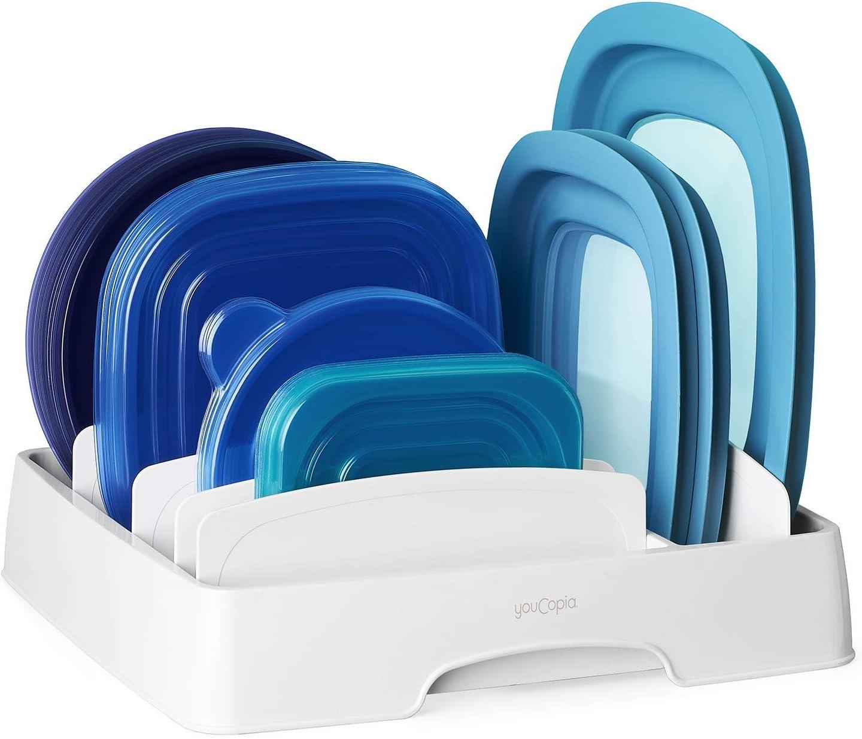 Amazon Com Youcopia Storalid Food Container Lid Organizer Medium White Kitchen Dining