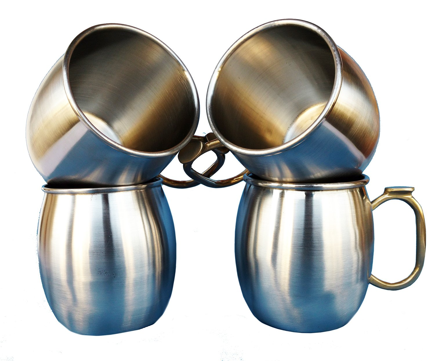 Rastogi Handicrafts Set of-4, Stainless Steel Moscow Mule Mugs Capacity-16 oz,Thumb brass handle Cold Coffee Mug/Beer Mug/Cup, Moscow Mule Mugs For Cold Drink Only