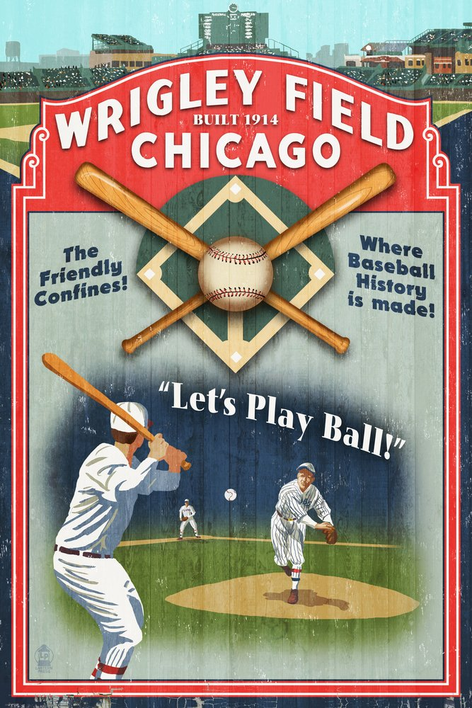 Chicago, Illinois - Wrigley Field Vintage Sign (12x18 Art Print, Wall Decor Travel Poster)