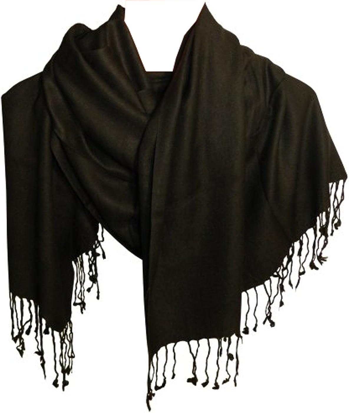 Pañuelo pasmina estilo negra viscosa algodón 190x52 cm fular ...