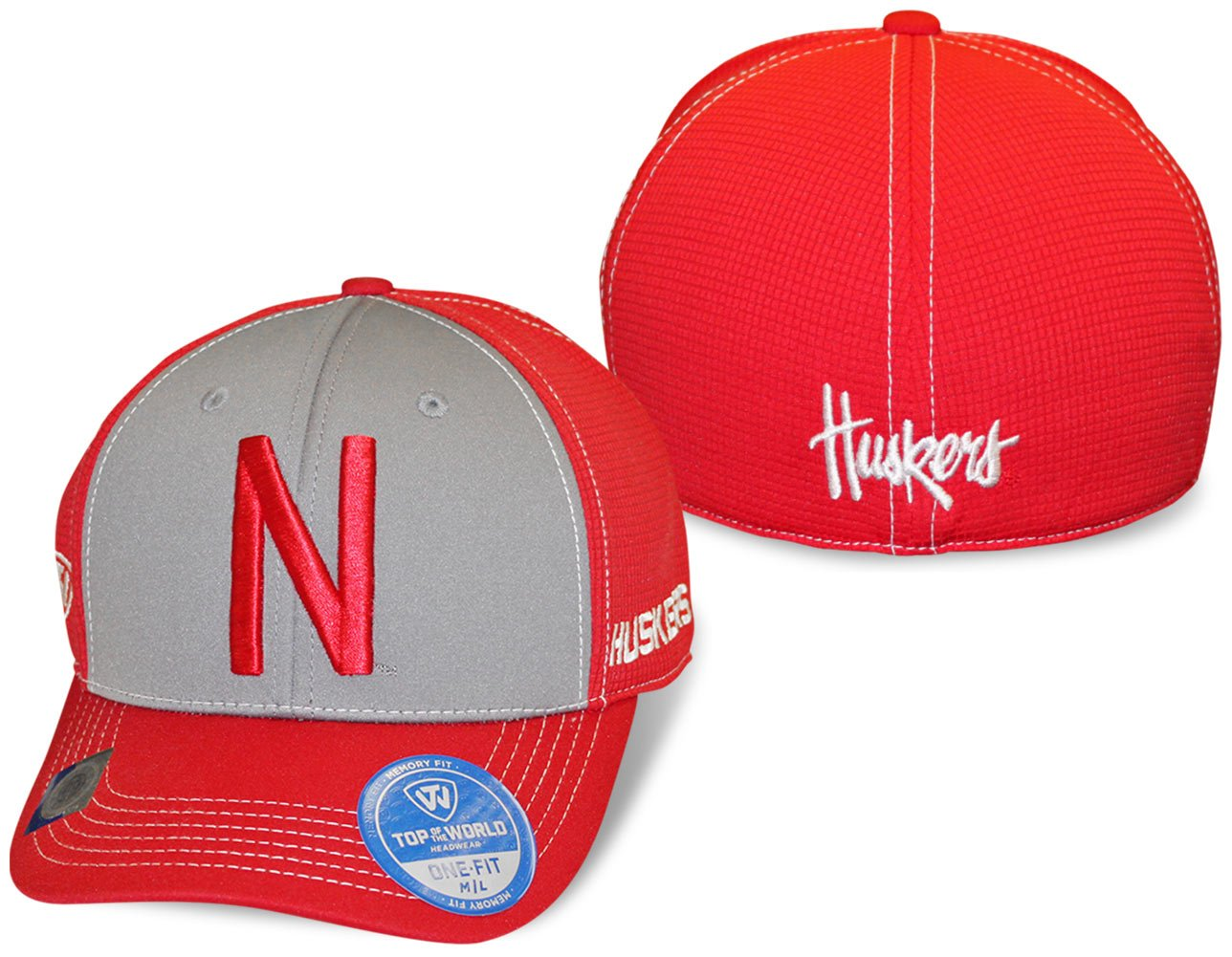 new arrival 42a67 be77e Amazon.com   Nebraska Cornhuskers Two-Tone Dynamic Memory Fit Flex Fit Hat    Cap Sizes 7 - 7 1 2   Sports   Outdoors