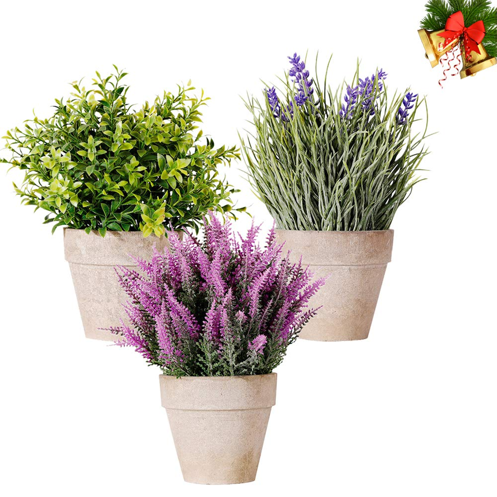 Artificial Mini Plants, NEW RUICHENG Mini Potted Artificial Plants 3Pack Fake Lavender Plastic Plant Flowers in Pots Small Potted Artificial Plant Real Green Bonsai for Indoor Home Bathroom Desk Decor
