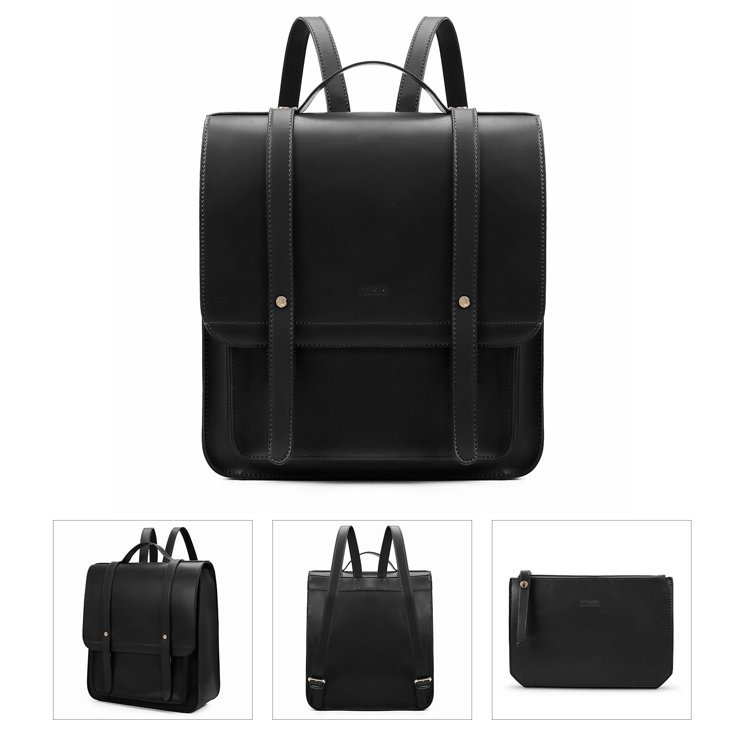 ECOSUSI Women Briefcase Laptop Backpack PU Leather Satchel Messenger Bag Fits up to 14 Inch Laptops with Small Purse, Black by ECOSUSI (Image #7)