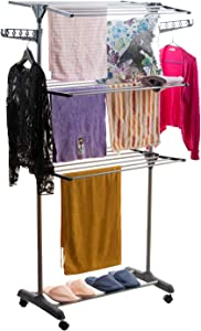 3 Tier Clothes Drying Rack Folding Laundry Dryer Hanger - Portable Rolling Drying Rack Adjustable Laundry Rack with Foldable Wings Shape Indoor/Outdoor Standing Airfoil-style Rack Hanging Rods - Gray