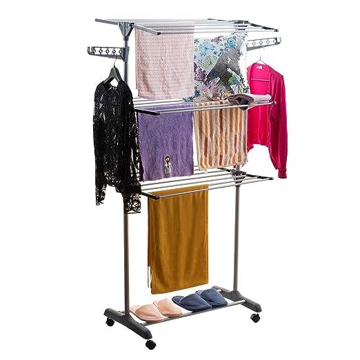 Perchero plegable para ropa de 3 niveles, para secado de ...