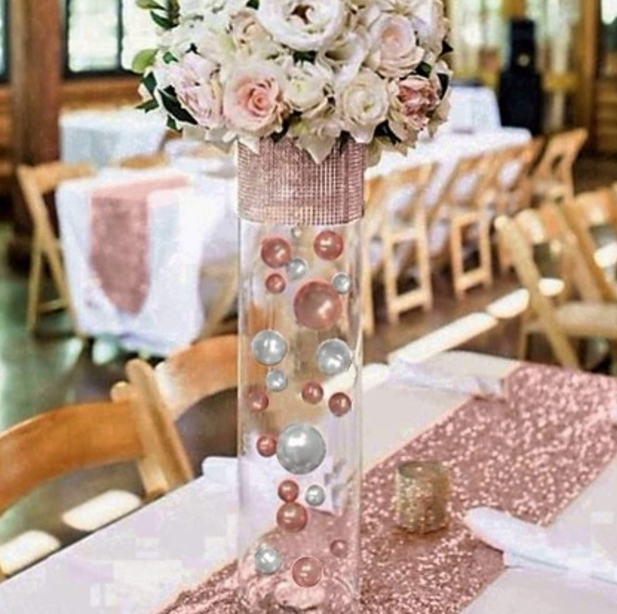Floating No Hole Blush Light Pink/Rose Gold & White Pearls - Jumbo/Assorted Sizes Vase Decorations + Includes Transparent Water Gels for Floating The Pearls
