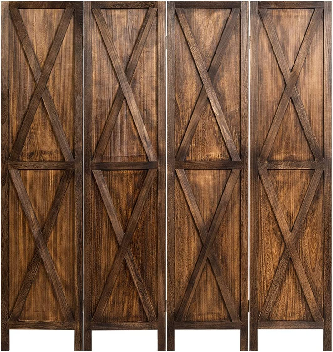 Giantex 4 Panel Wood Folding Screen, 5.6 Ft Screen Room Dividers w/X-Shaped Ornament, Freestanding Partition, Wood Panel Divider Privacy Screen for Home, Office, Bathroom, Bedroom (Brown)