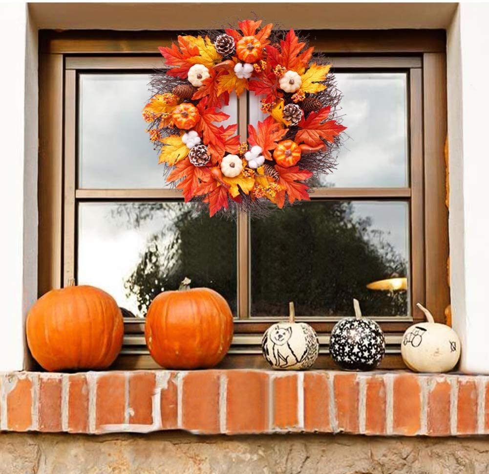 Handfly Maple Leaves Wreath,Pumpkin Wreath,Autumn Fall Wreath,Artificial Maple Leaves Pumpkin Wreath for Thanksgiving Day Halloween Front Door Wall Hanging Wreath Decoration