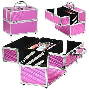 tinkertonk Makeup Box Aluminum Case Hairdressing Box Beauty Cosmetics Faux Leather Pink