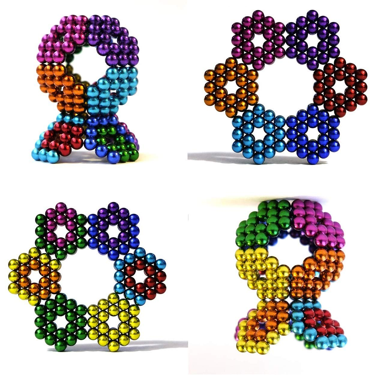 6 Colors 216 Pieces Aomeiter 5MM BallsToys Sculpture Building Blocks Fidget Cube Stem Gift for Intellectual Development Office Toy Stress Relief Gift for Teens and Magnetic Blocks for Adult by JZKJ