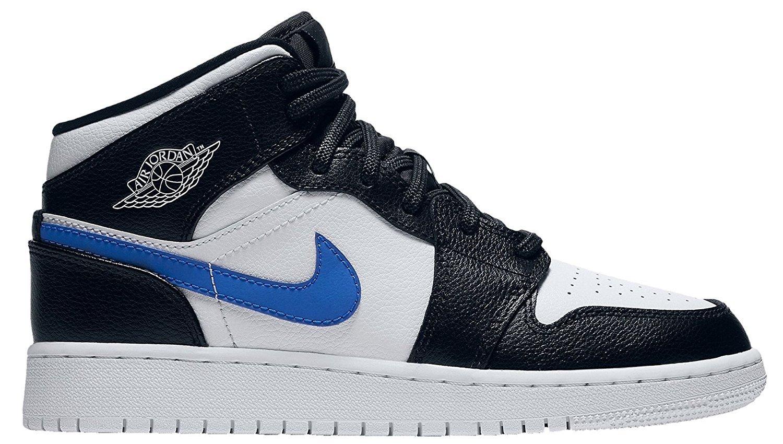 Jordan Nike Kids Air 1 Mid BG Black/White Univeristy Red Basketball Shoe 4.5 Kids US