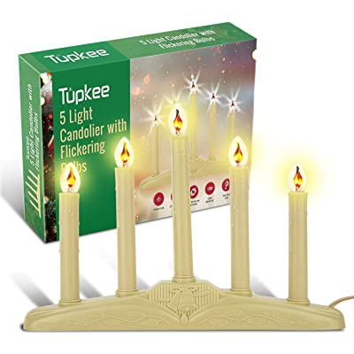 Tupkee Christmas Candolier Window Candles – with Flickering Bulbs – 5-Lights Indoor - Flameless Electric Window Candles Candelabra : Garden & Outdoor